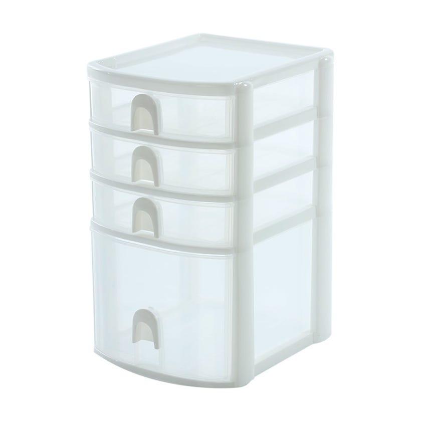 Mini Organiser with 3+1 Drawers (White, Plastic)