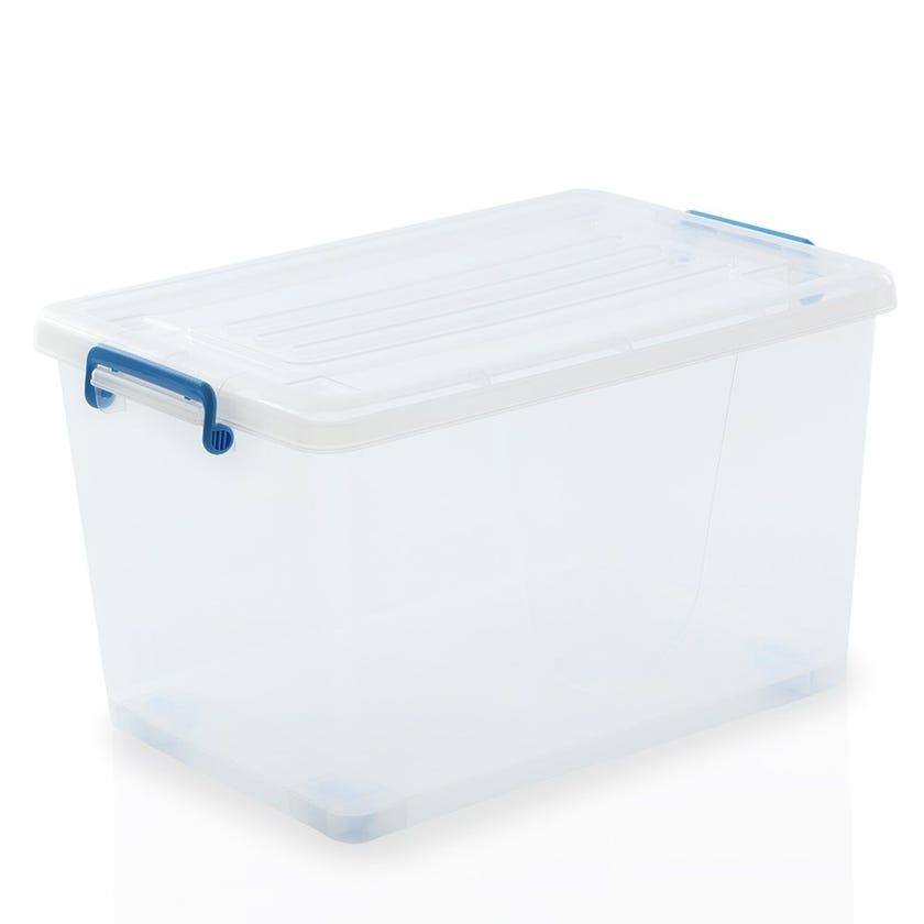 Rolling Wheel Plastic Organiser Box, Clear - 48L