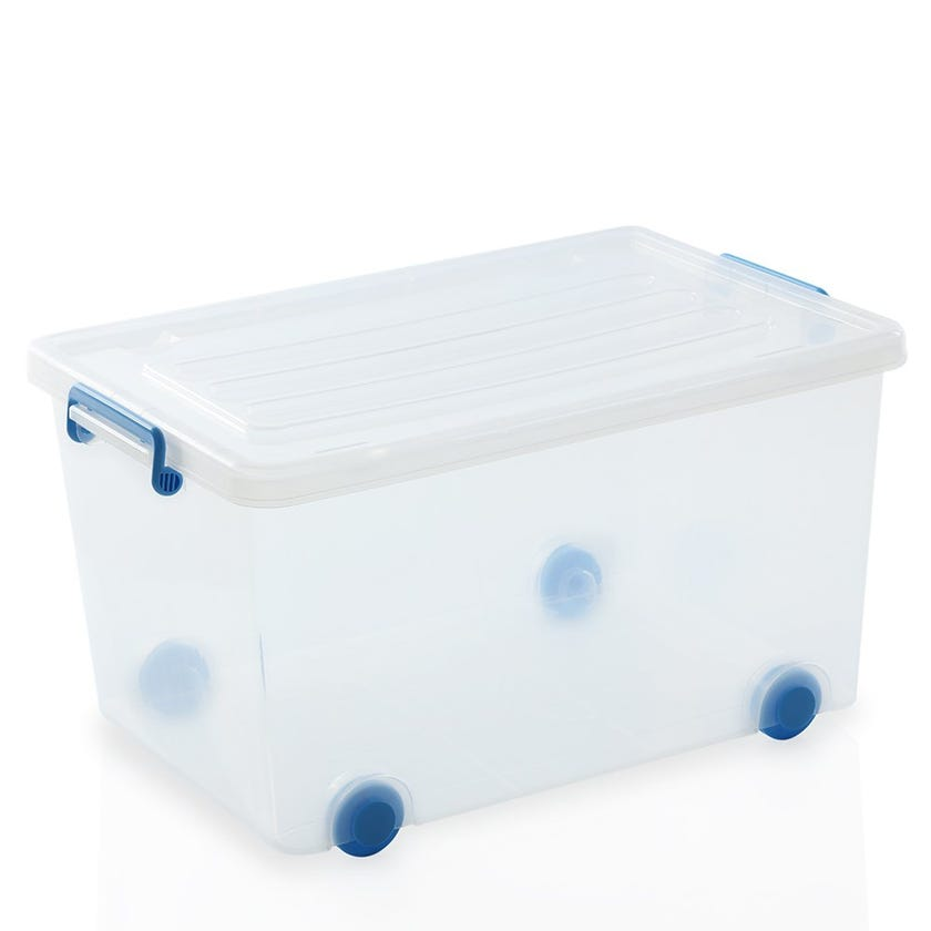 Rolling Wheel Plastic Organiser Box, Clear - 55L