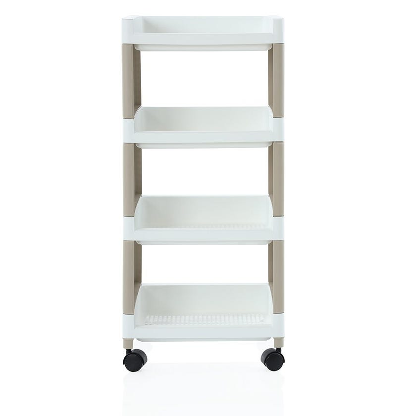 3-Tier Open Trolley, White and Beige