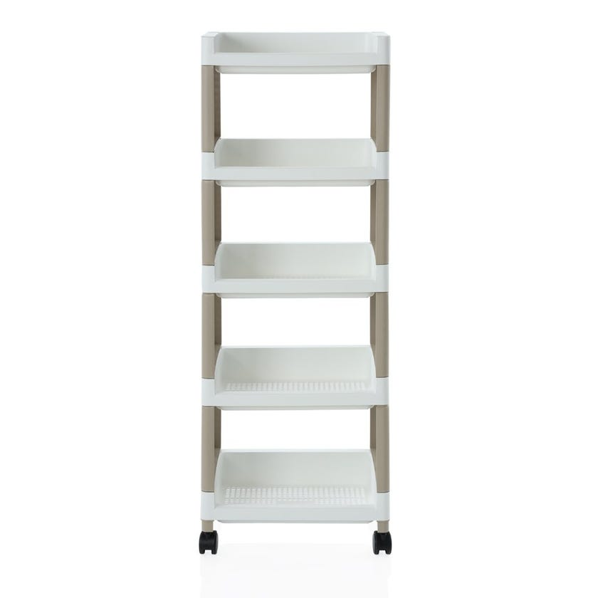 4-Tier Open Trolley, White and Beige