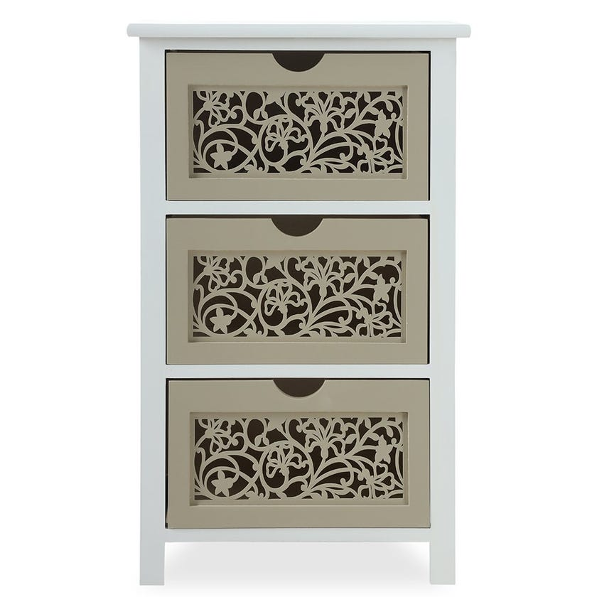 Cutwork Paulownia 3-Drawer Wood Cabinet, White and Light Brown