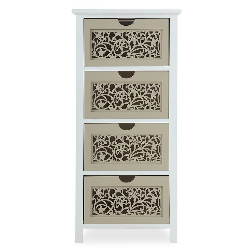 Cutwork Paulownia 4-Drawer Wood Cabinet, White and Light Brown