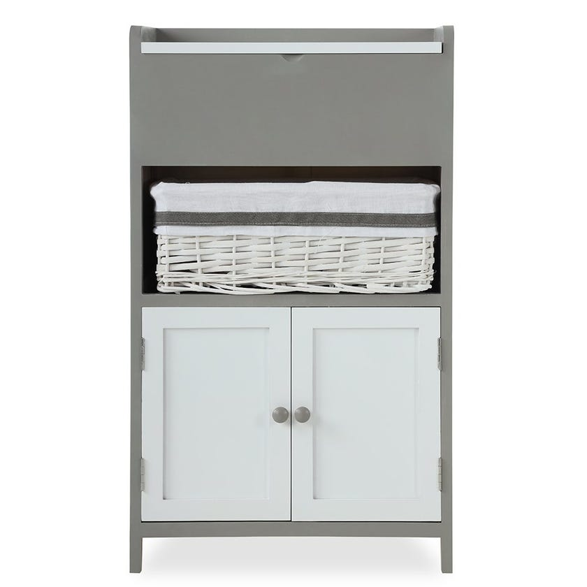 Cabinet With Mirror, White and Grey