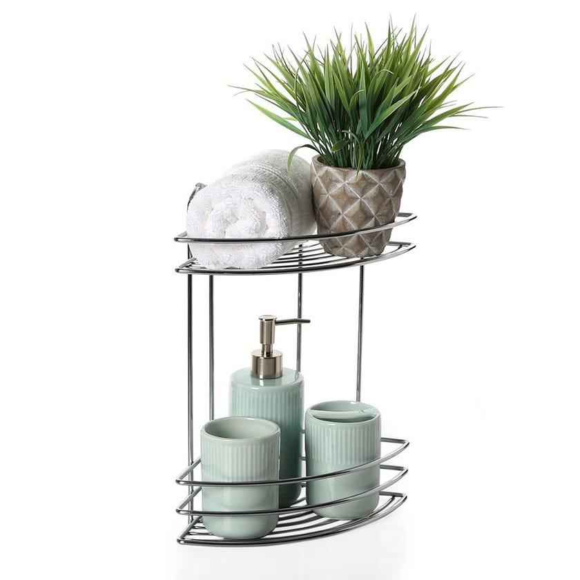 2-Tier Corner Bath Shelf, Chrome – 35 cms