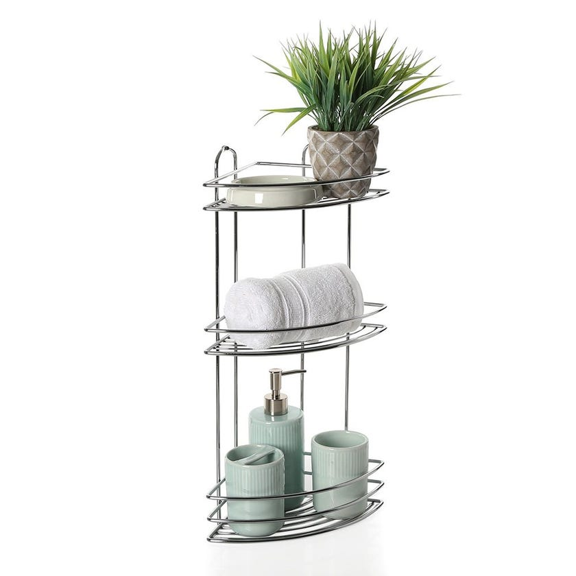 3-Tier Corner Bath Shelf, Chrome – 55 cms