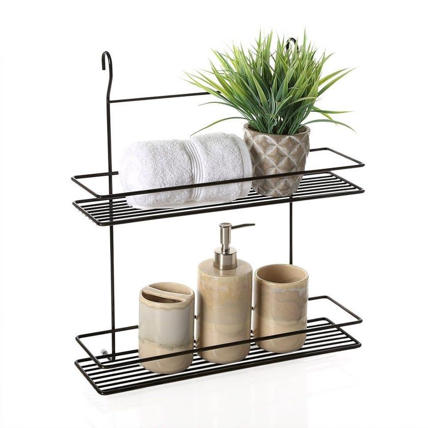 2-Tier Bath Shelf, Antique Chrome – 45 cms