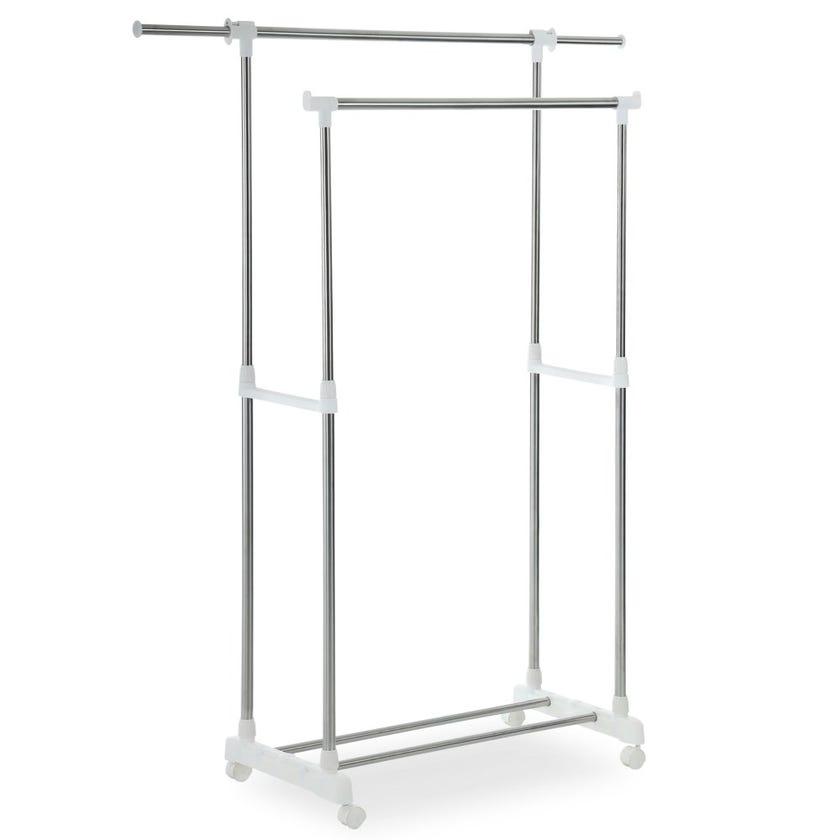 Garment Hanger Stand, Chrome & White