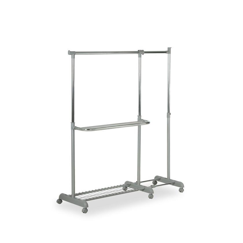 Clothes Rail With Wire Shelf - 165 x 44 x 165 cms