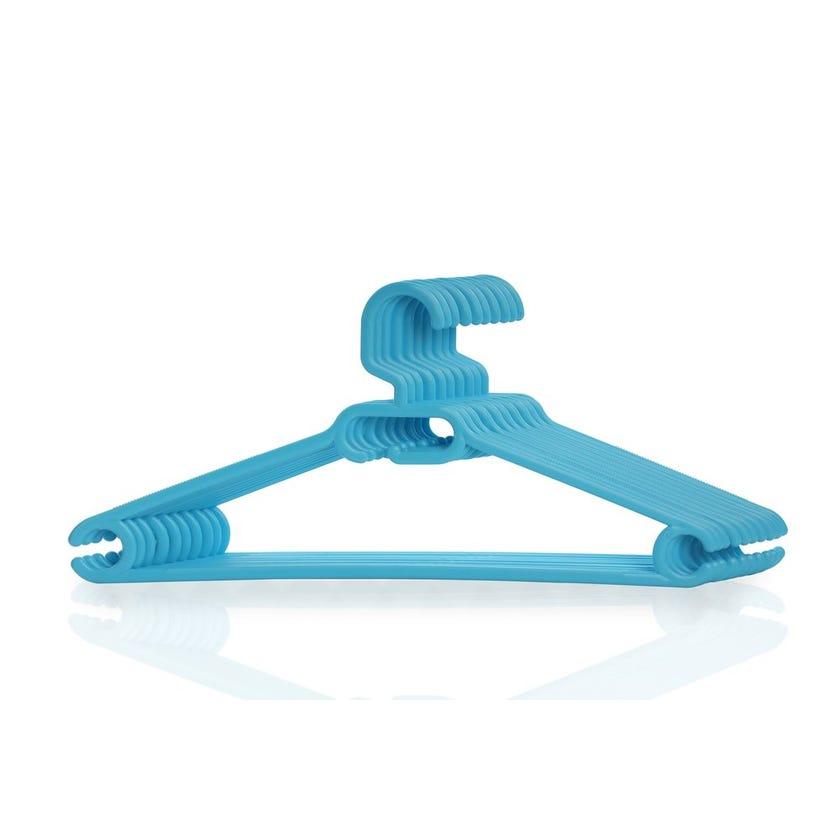 Plastic Cloth Hanger, Blue - Set of 10
