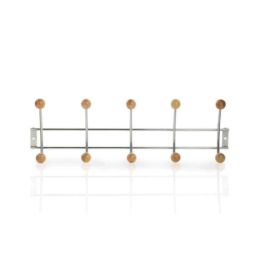 Wall Mounted Rubber Wood Balls with 5 Hooks