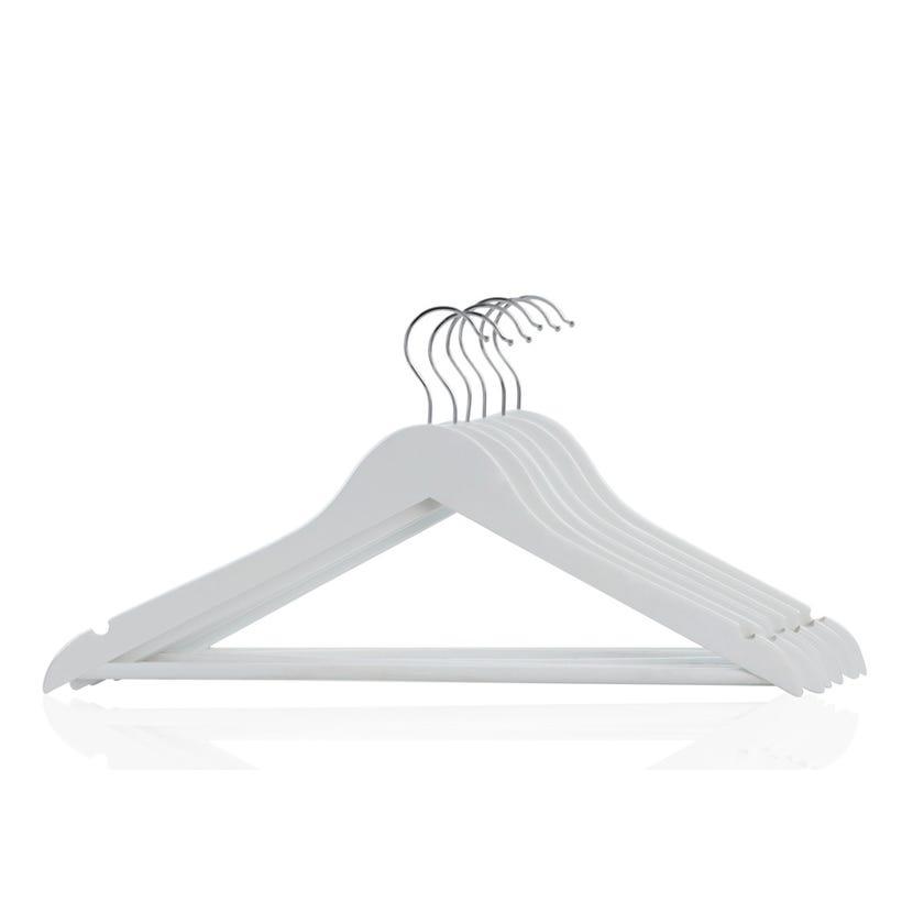 6-Piece Wood Hanger Set, White