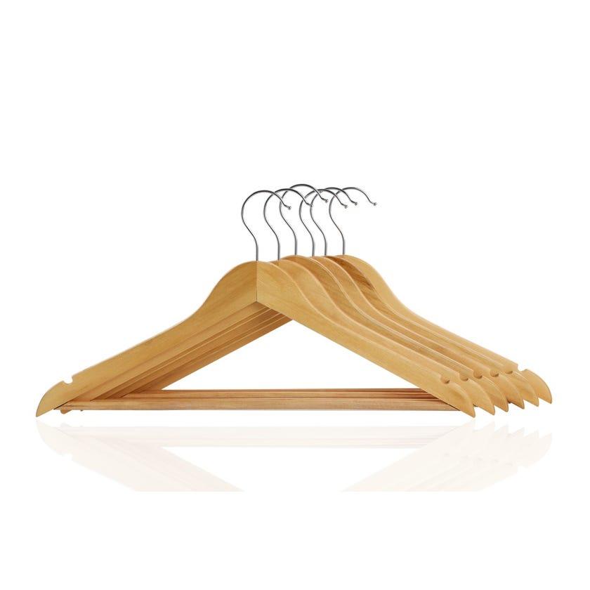 6-Piece Wood Hanger Set, Natural