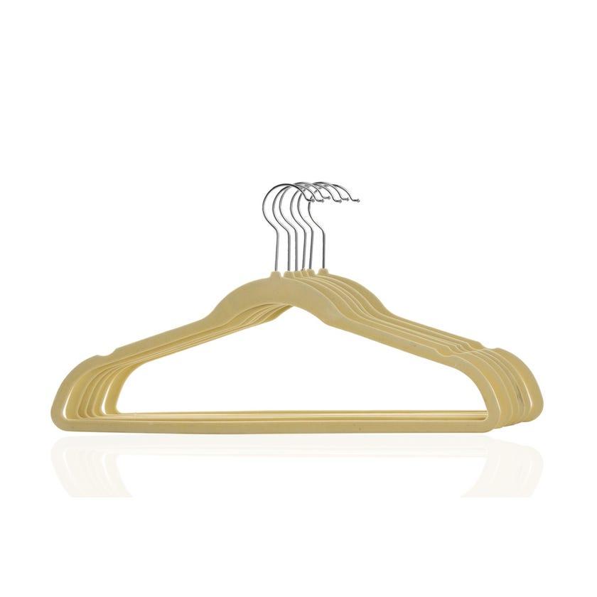 6-Piece Velvet Flocked Hanger Set, Beige