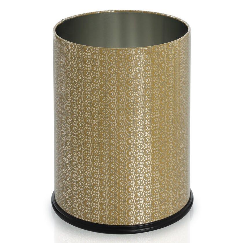 Gold Motif Waste Bin, Tin Plate, Medium