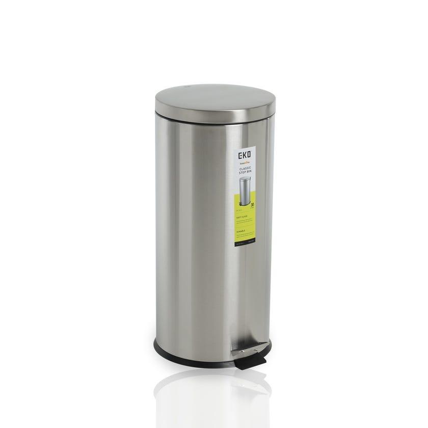EKO Basic Pedal Bin, Stainless Steel - 30 L