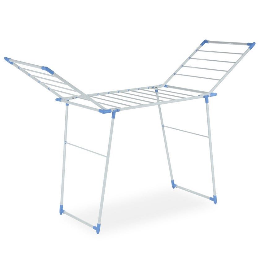 Home Clothes Drying Plastic Stand, White & Sky Blue