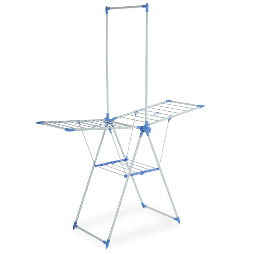Home Clothes Drying Plastic Stand, White & Blue