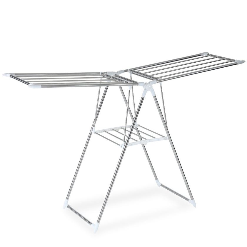 Home Clothes Drying Stand, Chrome & White