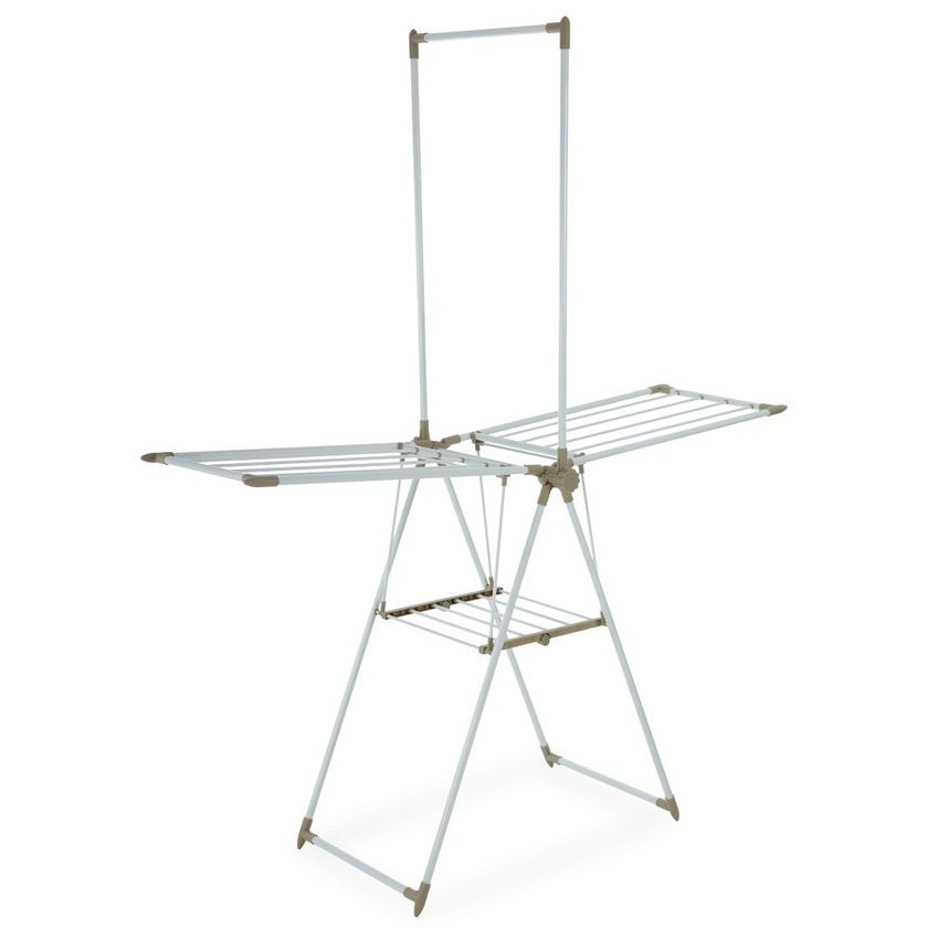 Home Clothes Drying Plastic Stand, White & Beige