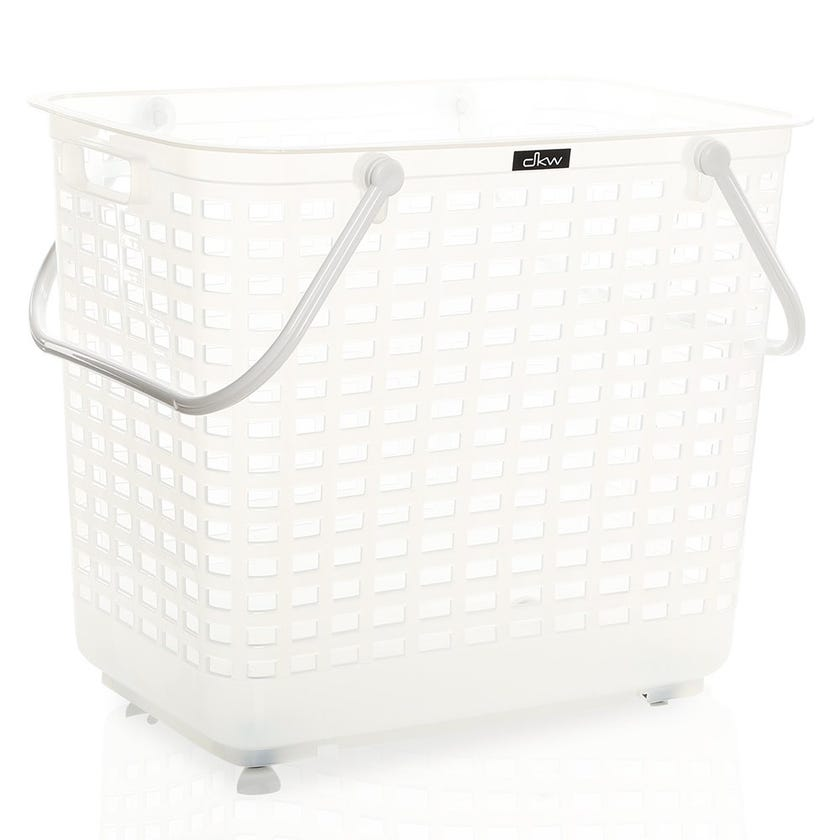 Laundry Basket with Handle & Wheel, Clear