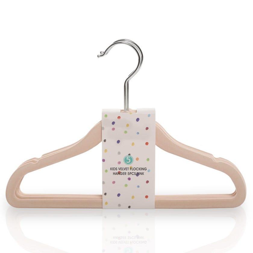 Kids Velvet Flocking Hanger, Pink – Set of 5