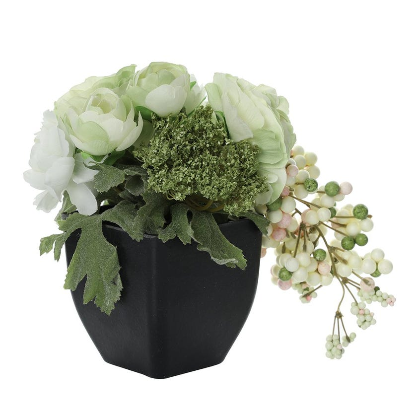 Mix Ranunculus Artificial Flowers in Pot, Green & White – 24 cms