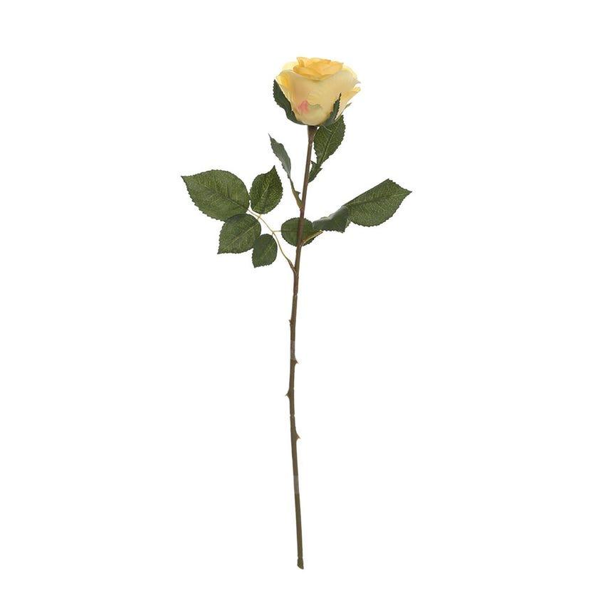 Elegance Single Rose Bud, Yellow - 50 cms