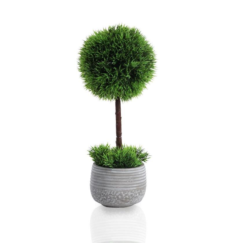 Bonsai Bush Artificial Plant in Pot (Green, 36 cms)