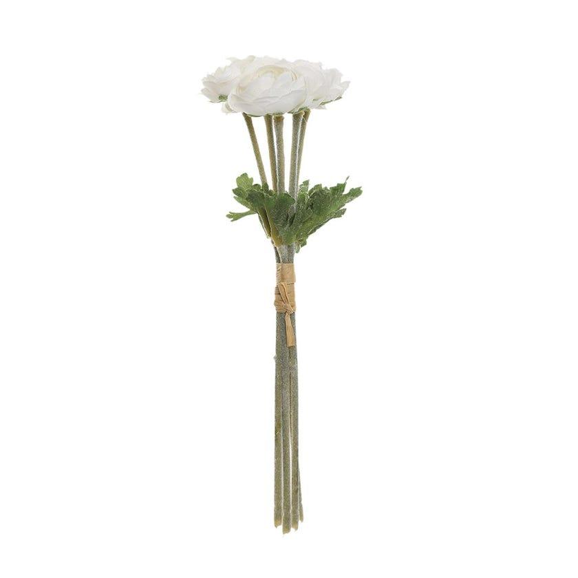 Flocked Mini Ranunculus Artificial Spray, Cream & White – 21 cms