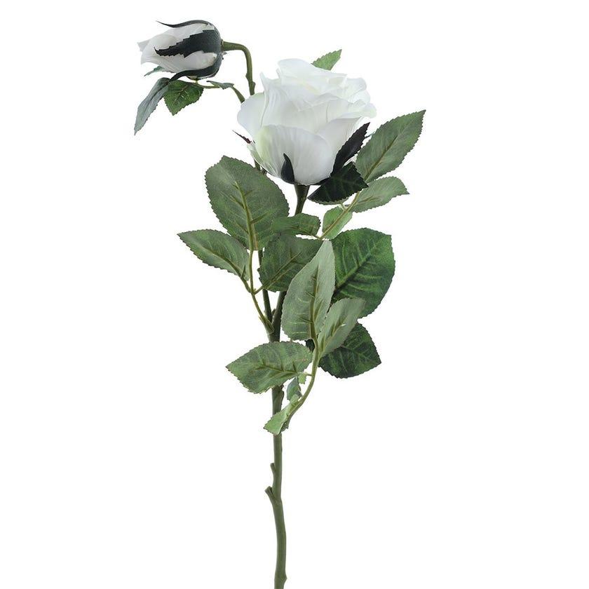 Rose Bud Double Romance Stem, White & Cream – 77 cms
