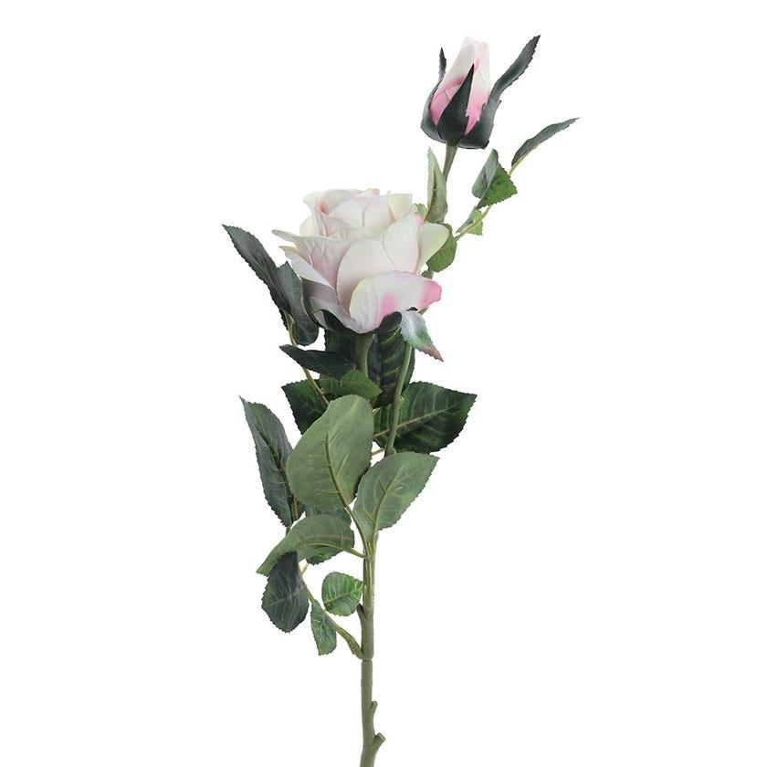 Rose Bud Double Romance Stem, Pink & Ivory – 77 cms
