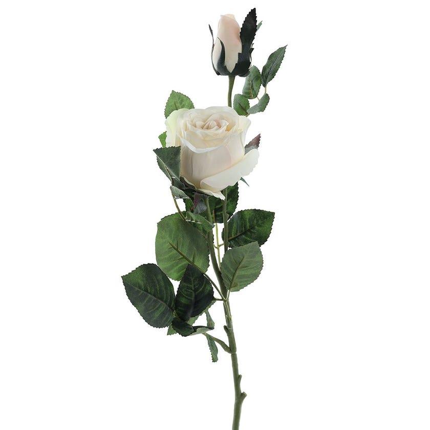 Rose Bud Double Romance Stem, Cream & Peach – 77 cms