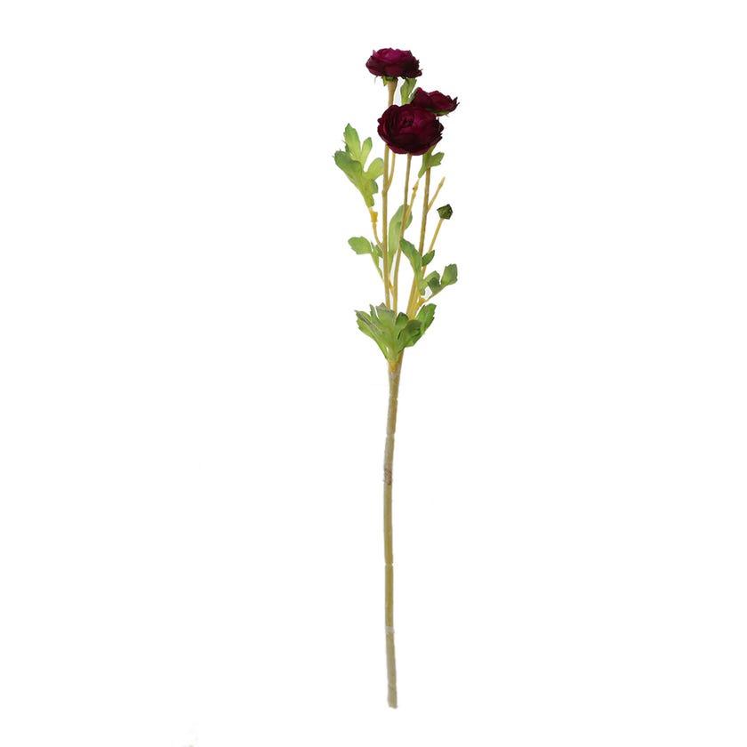 Flocked Mini Ranunculus Spray, Violet – 50 cms