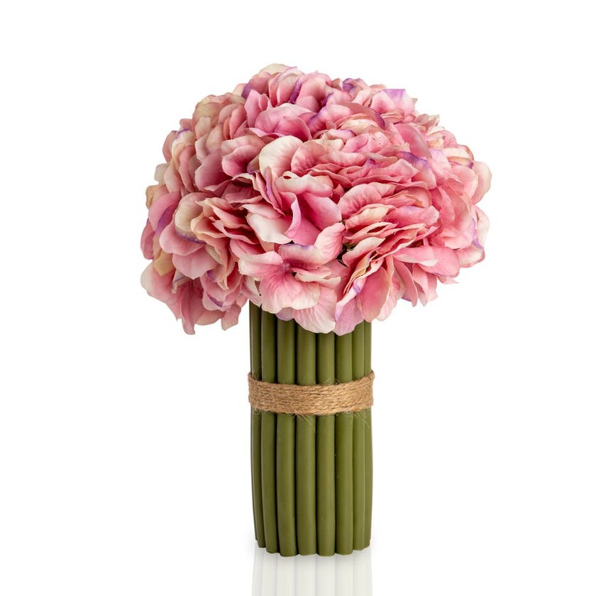 Hydrangea Artificial Flowers with Stems (Pink, 27.9 cms)
