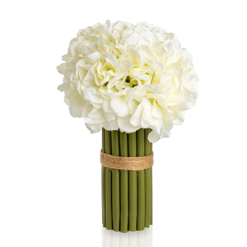 Hydrangea Artificial Flowers with Stems (White, 27.9 cms)