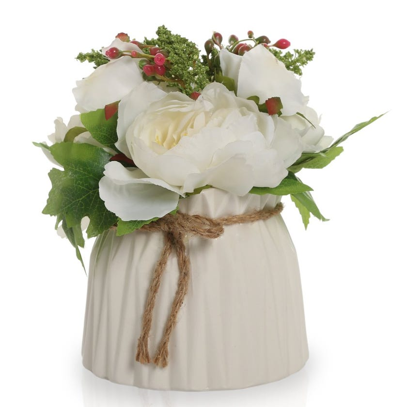 Potted Flower in Geometric White Vase – 25 cms
