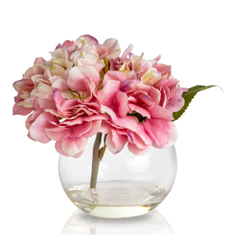Hydrangea Artificial Flowers in Glass Vase (Pink, 19 cms)
