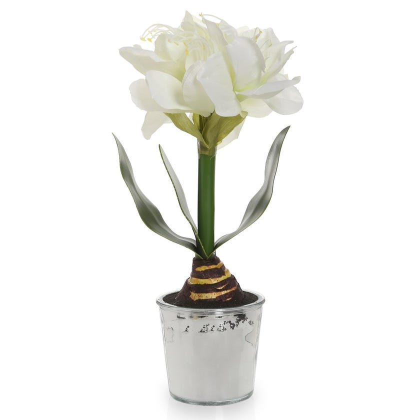 Potted White Flower in Glass Copper Vase – 40 cms