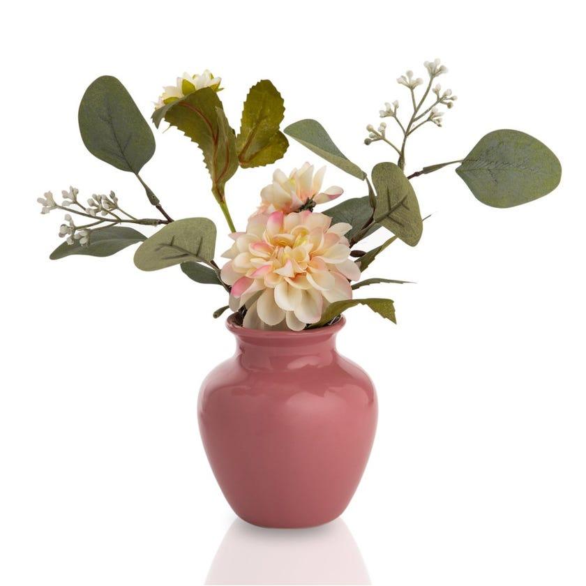 Dahlia Artificial Flowers in Ceramic Vase (Multicolour, 25.4 cms)