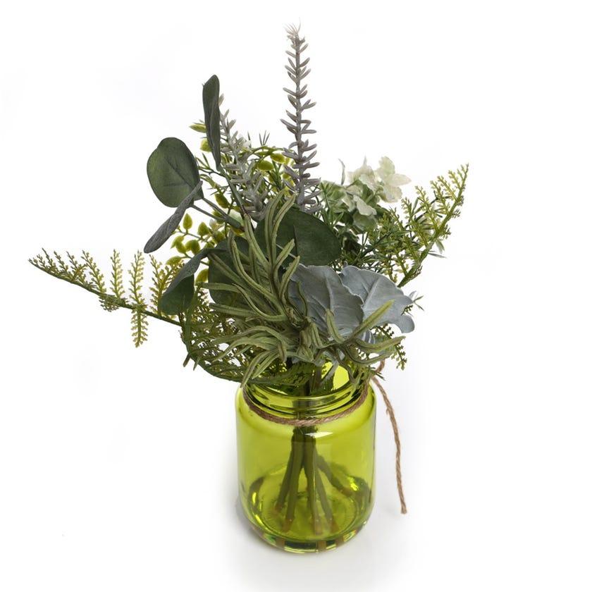 Artificial Greenary in Green Glass Bottle (Green, 30.5 cms)