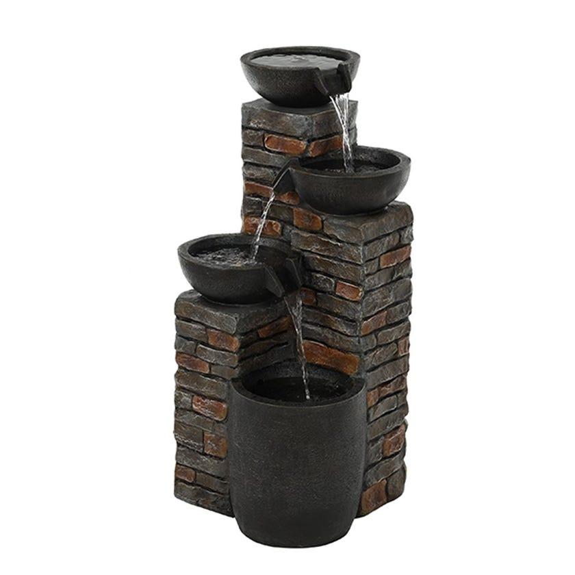 Brick Wall Water Fountain, Dark Grey
