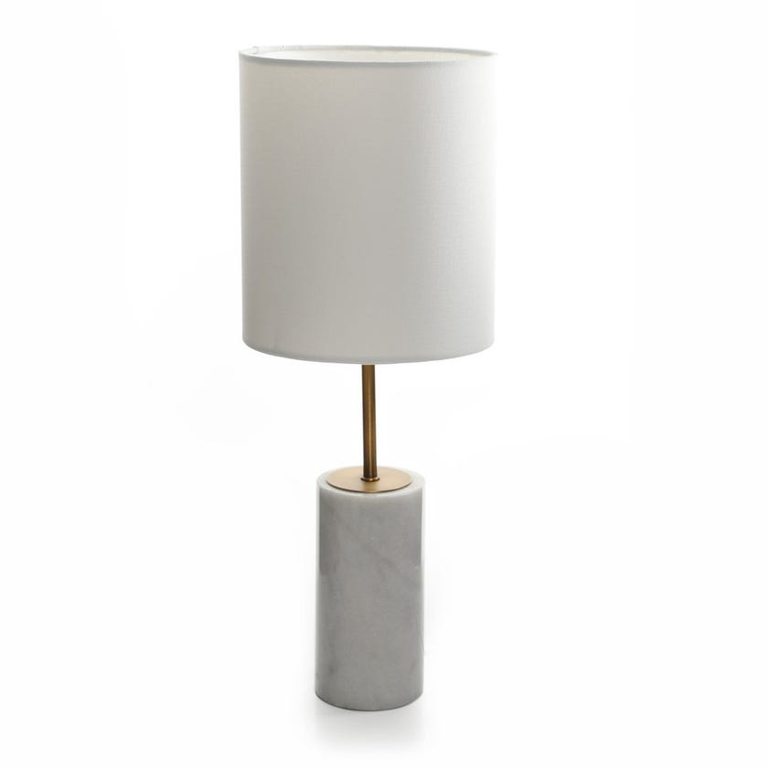 Marble Table Lamp, White – 53.5 cms