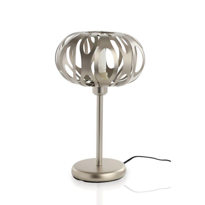 Metallic Table Lamp, Nickel – 25x45 cms