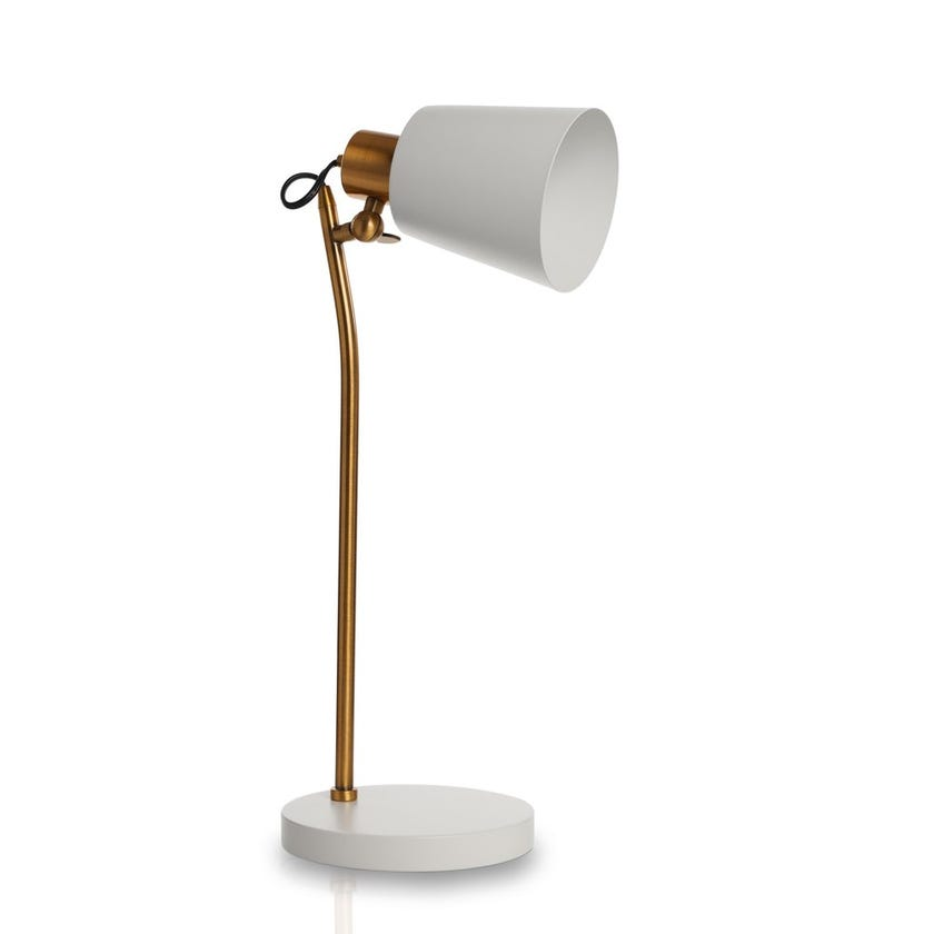 Carla Table Lamp, White & Copper - 22x52 cms