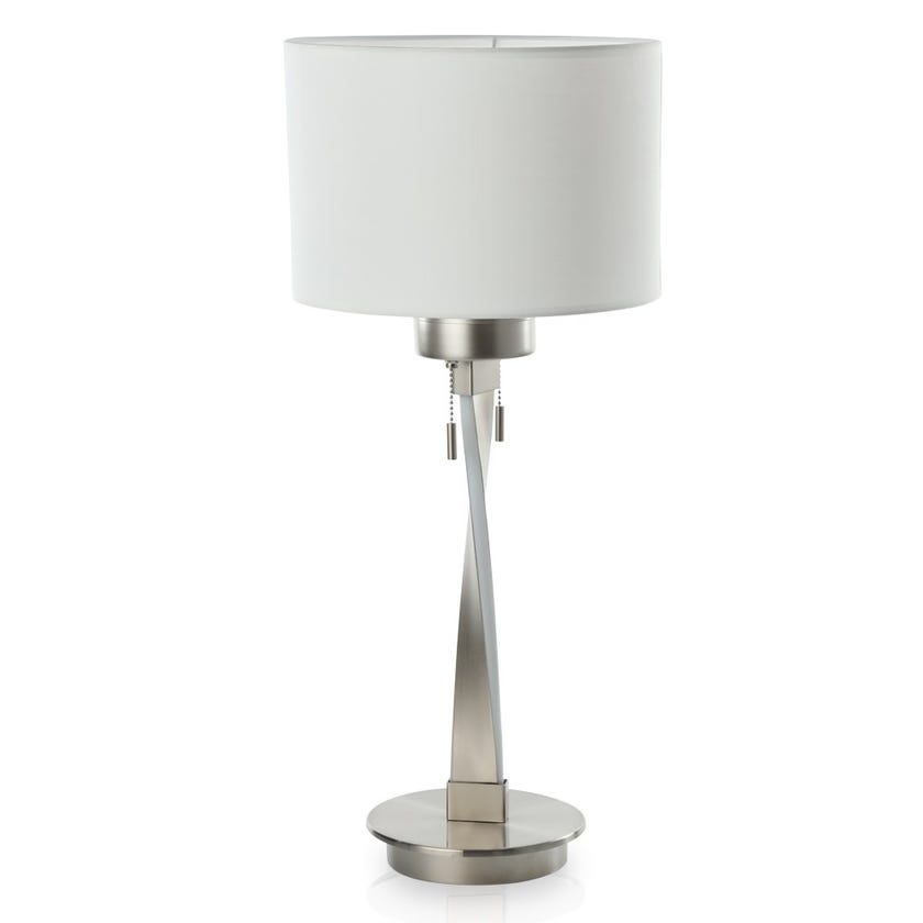 Rome LED Table Lamp, Nickel – 25x58 cms