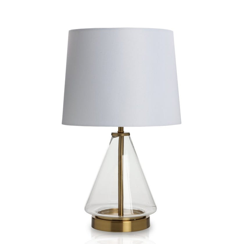 Charlotte Glass Table Lamp, Clear 46 cms