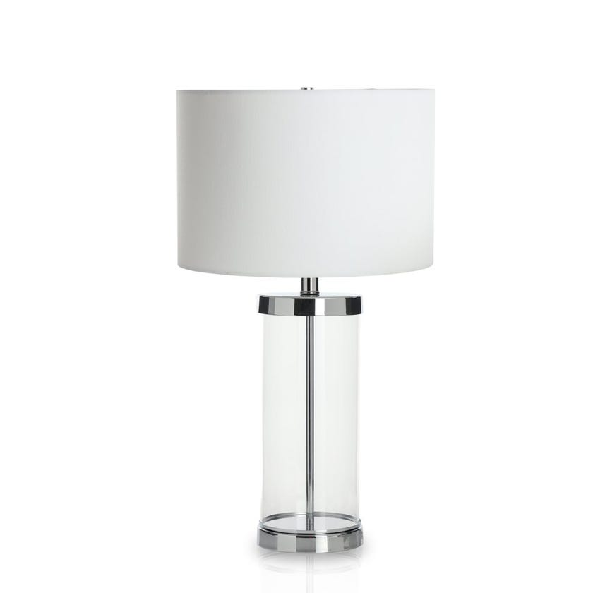 Mento Metal Glass Table Lamp, Clear - 61 cms