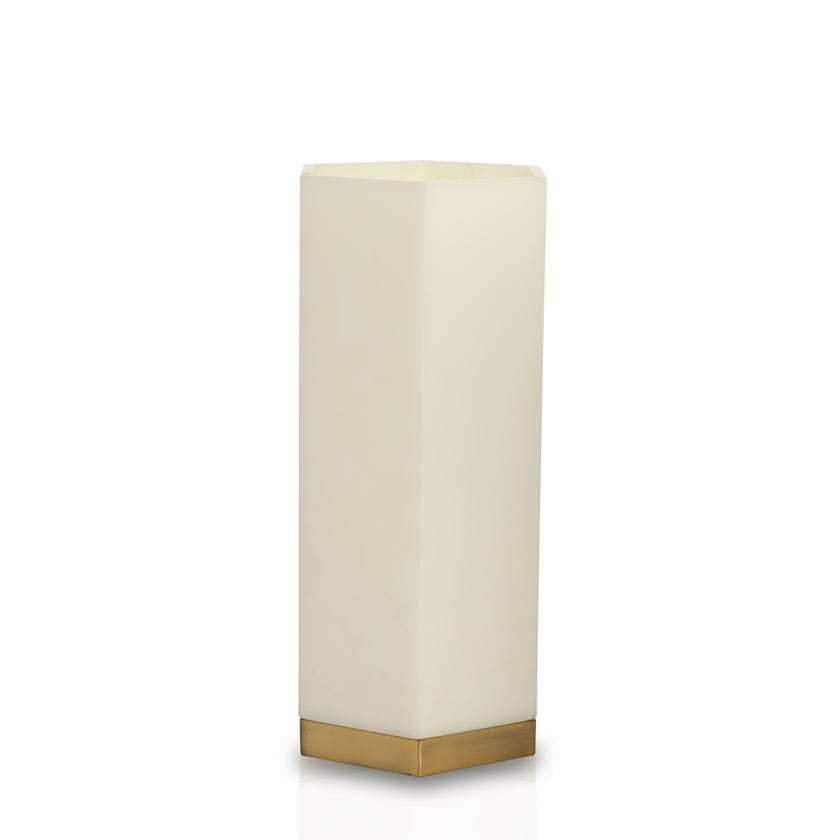 Alabaster Hexagon Uplight, White - 38 cms