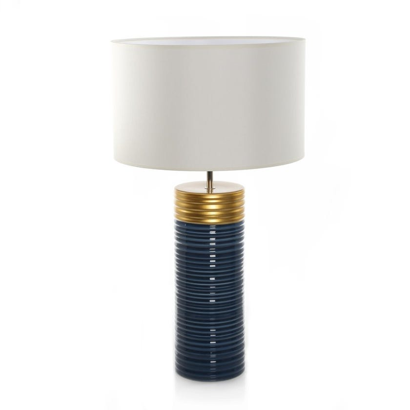 Clinton Earthenware Table Lamp, Blue & Gold